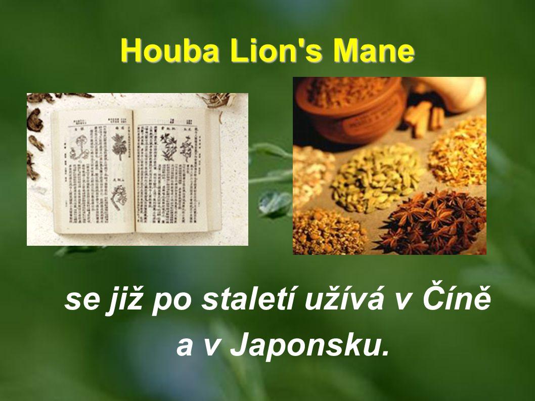 Houba Lion's Mane se již po staletí užívá v Číně a v Japonsku.