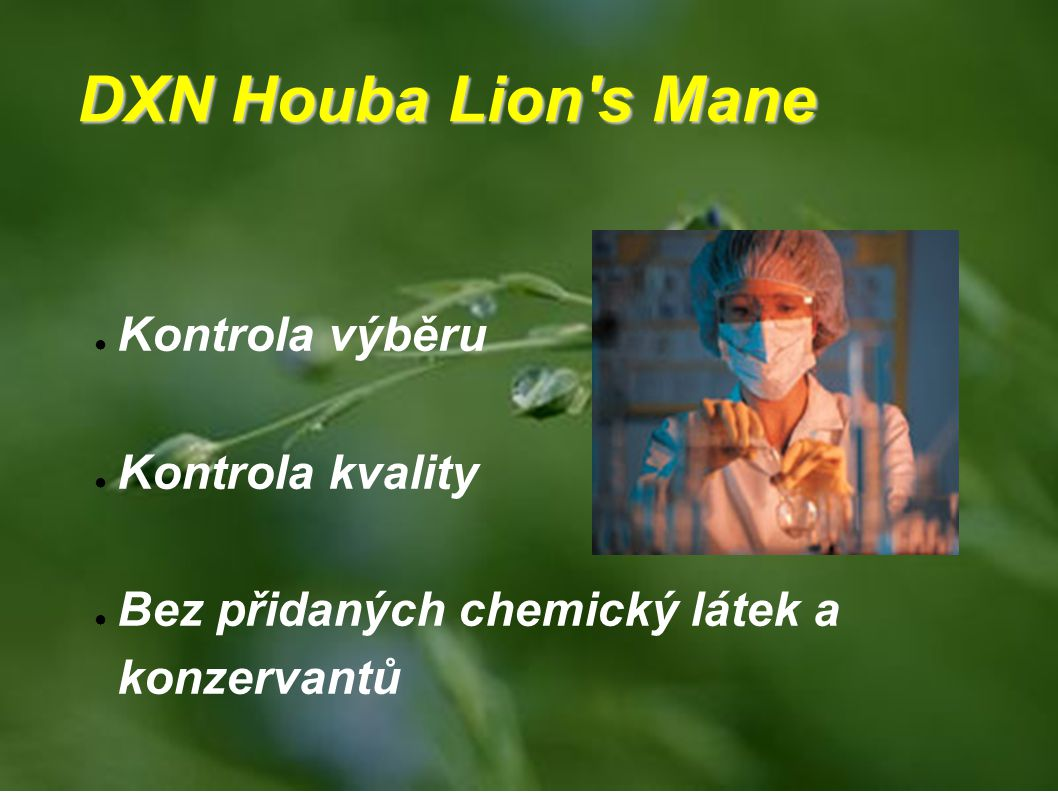 DXN Houba Lion's Mane ● Kontrola výběru ● Kontrola kvality ● Bez přidaných chemický látek a konzervantů