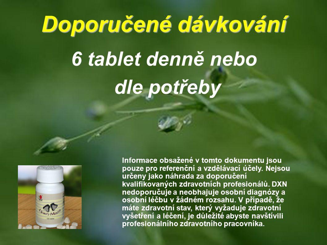 Doporučené dávkování 6 tablet denně nebo dle potřeby Informace obsažené v tomto dokumentu jsou pouze pro referenční a vzdělávací účely. Nejsou určeny