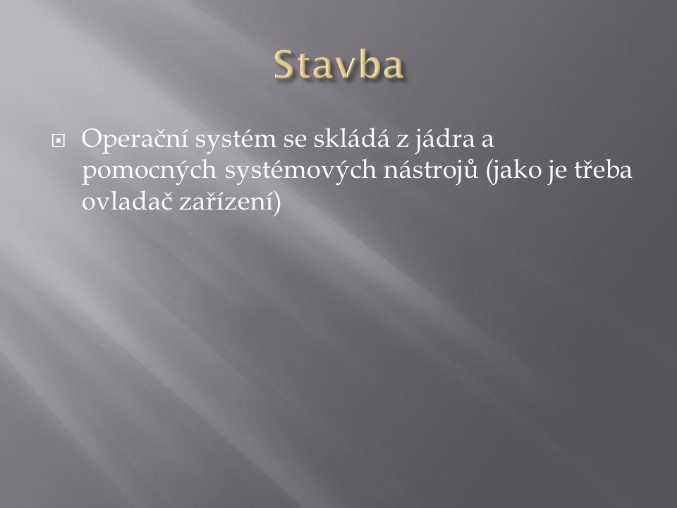  Operační systém se skládá z jádra a pomocných systémových nástrojů (jako je třeba ovladač zařízení)