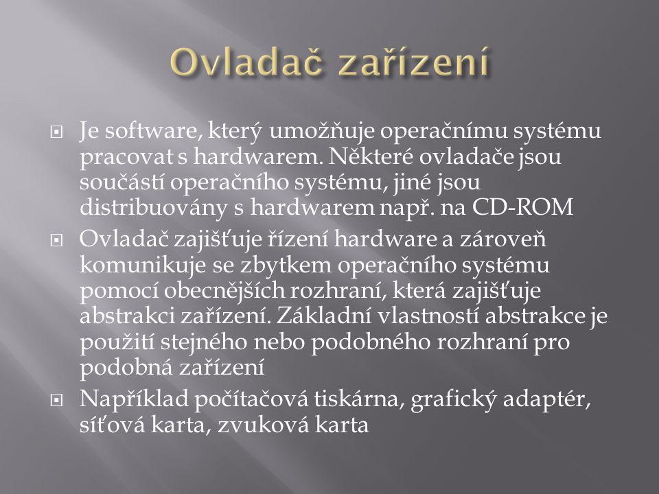  Je software, který umožňuje operačnímu systému pracovat s hardwarem.