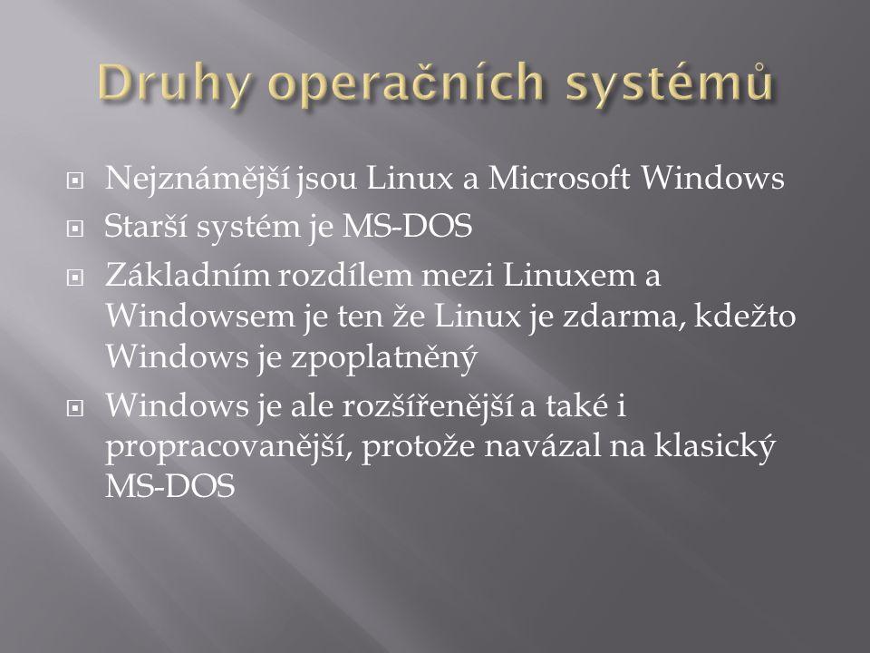  Nejznámější jsou Linux a Microsoft Windows  Starší systém je MS-DOS  Základním rozdílem mezi Linuxem a Windowsem je ten že Linux je zdarma, kdežto Windows je zpoplatněný  Windows je ale rozšířenější a také i propracovanější, protože navázal na klasický MS-DOS