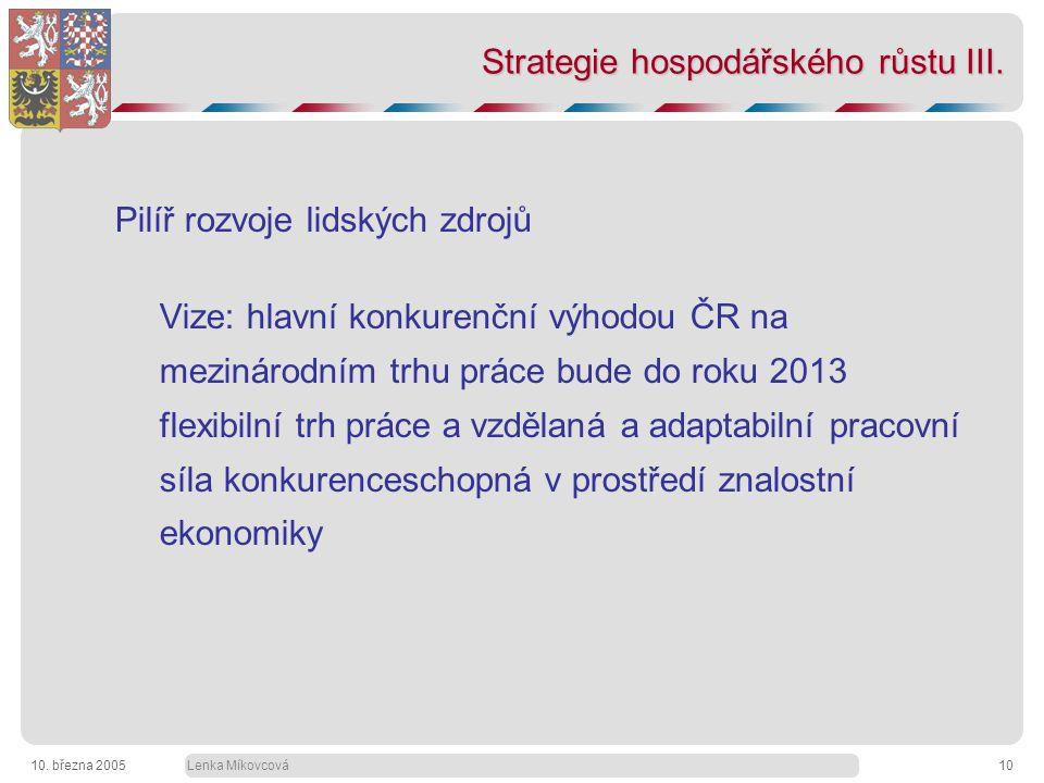 Lenka Míkovcová10. března 200510 Strategie hospodářského růstu III.