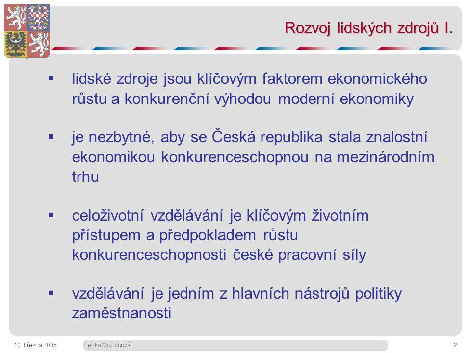 Lenka Míkovcová10. března 20052 Rozvoj lidských zdrojů I.
