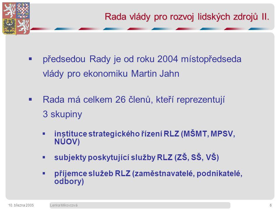 Lenka Míkovcová10. března 20056 Rada vlády pro rozvoj lidských zdrojů II.