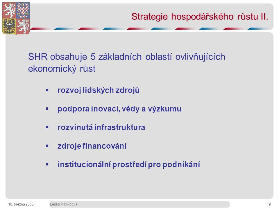 Lenka Míkovcová10. března 20059 Strategie hospodářského růstu II.