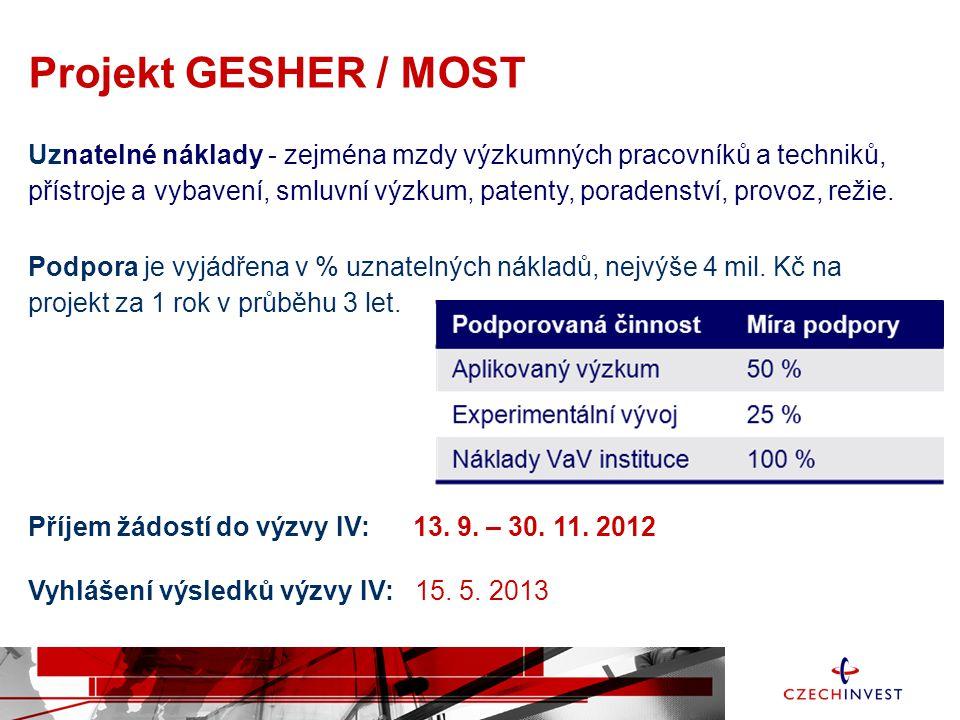 Projekt GESHER / MOST Uznatelné náklady - zejména mzdy výzkumných pracovníků a techniků, přístroje a vybavení, smluvní výzkum, patenty, poradenství, p