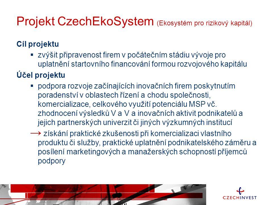 Projekt CzechEkoSystem (Ekosystém pro rizikový kapitál) Cíl projektu  zvýšit připravenost firem v počátečním stádiu vývoje pro uplatnění startovního