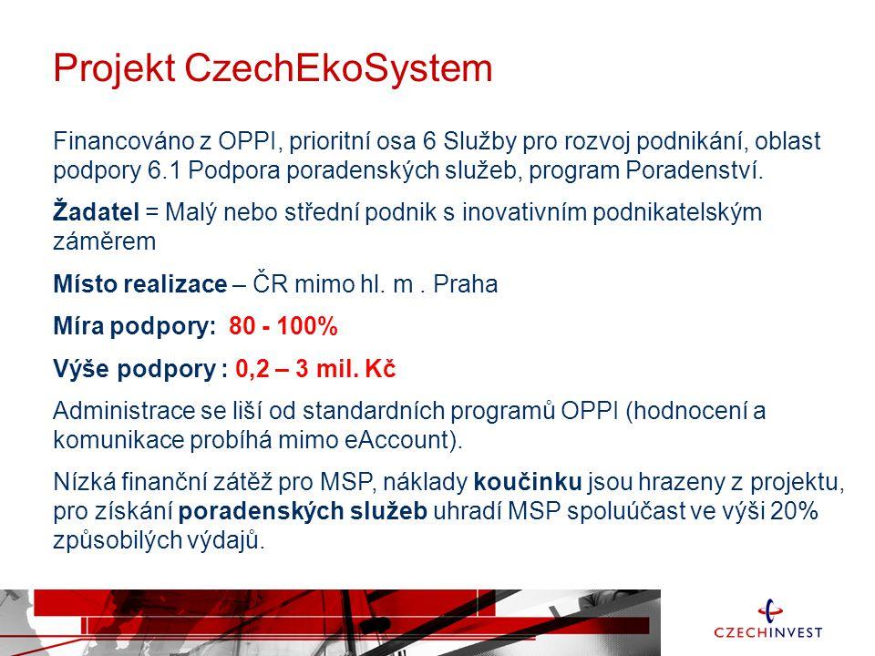 Projekt CzechEkoSystem Financováno z OPPI, prioritní osa 6 Služby pro rozvoj podnikání, oblast podpory 6.1 Podpora poradenských služeb, program Poradenství.