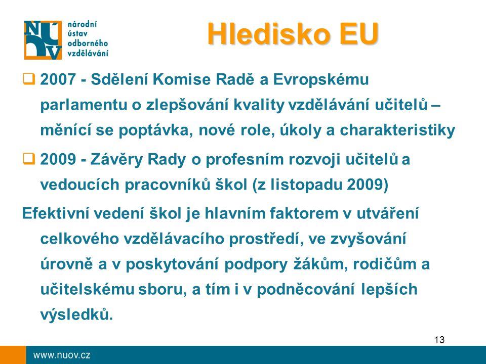 13  2007 - Sdělení Komise Radě a Evropskému parlamentu o zlepšování kvality vzdělávání učitelů – měnící se poptávka, nové role, úkoly a charakteristiky  2009 - Závěry Rady o profesním rozvoji učitelů a vedoucích pracovníků škol (z listopadu 2009) Efektivní vedení škol je hlavním faktorem v utváření celkového vzdělávacího prostředí, ve zvyšování úrovně a v poskytování podpory žákům, rodičům a učitelskému sboru, a tím i v podněcování lepších výsledků.