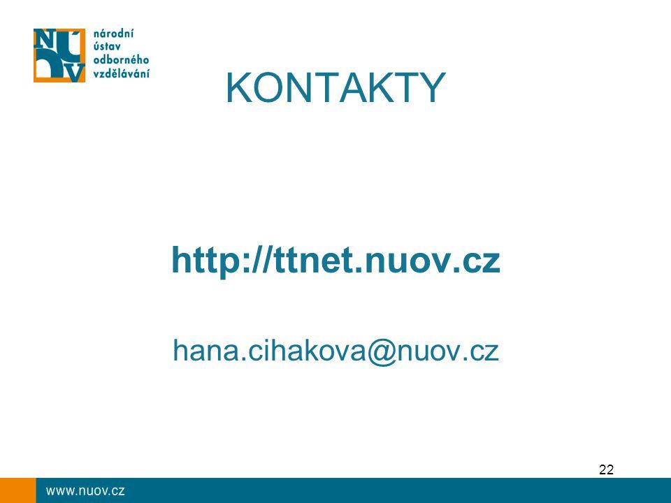22 KONTAKTY http://ttnet.nuov.cz hana.cihakova@nuov.cz