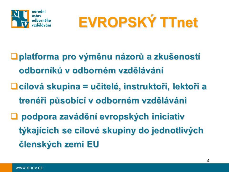 4  platforma pro výměnu názorů a zkušeností odborníků v odborném vzdělávání  cílová skupina = učitelé, instruktoři, lektoři a trenéři působící v odborném vzděláváni  podpora zavádění evropských iniciativ týkajících se cílové skupiny do jednotlivých členských zemí EU EVROPSKÝ TTnet