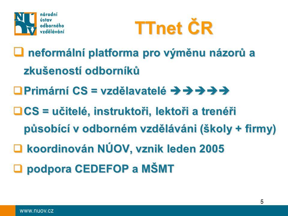 TTnet ČR  neformální platforma pro výměnu názorů a zkušeností odborníků  Primární CS = vzdělavatelé   CS = učitelé, instruktoři, lektoři a trenéři působící v odborném vzděláváni (školy + firmy)  koordinován NÚOV, vznik leden 2005  podpora CEDEFOP a MŠMT 5