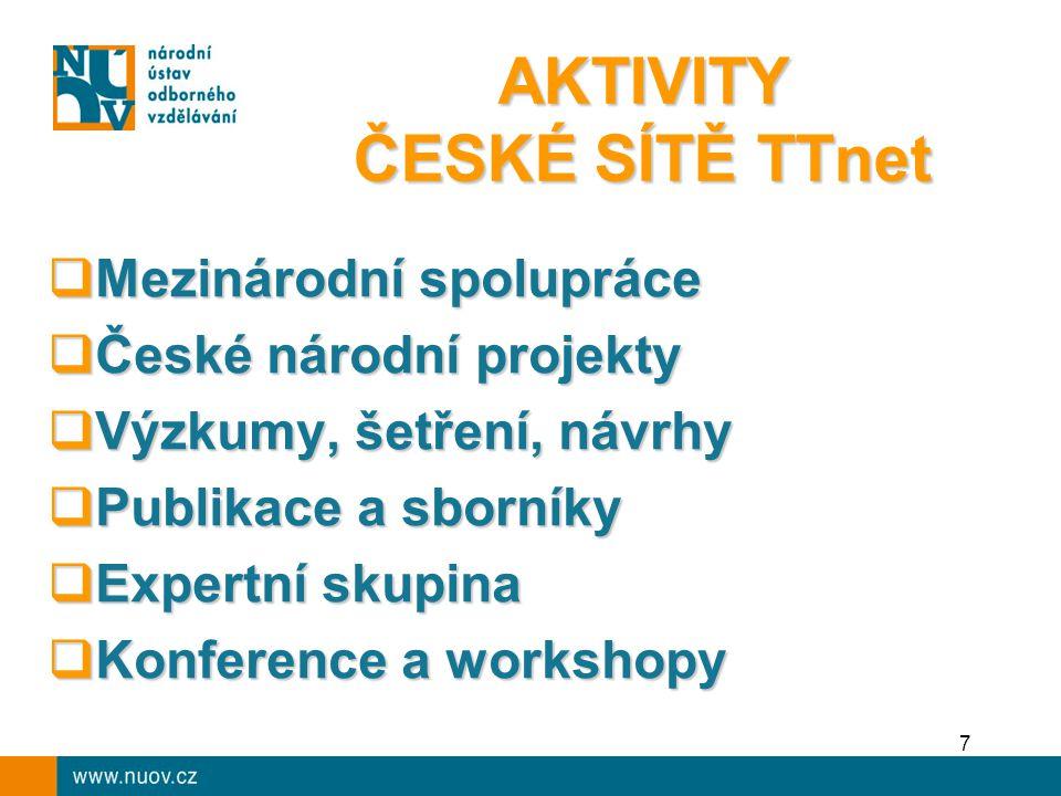 AKTIVITY ČESKÉ SÍTĚ TTnet  Mezinárodní spolupráce  České národní projekty  Výzkumy, šetření, návrhy  Publikace a sborníky  Expertní skupina  Konference a workshopy 7