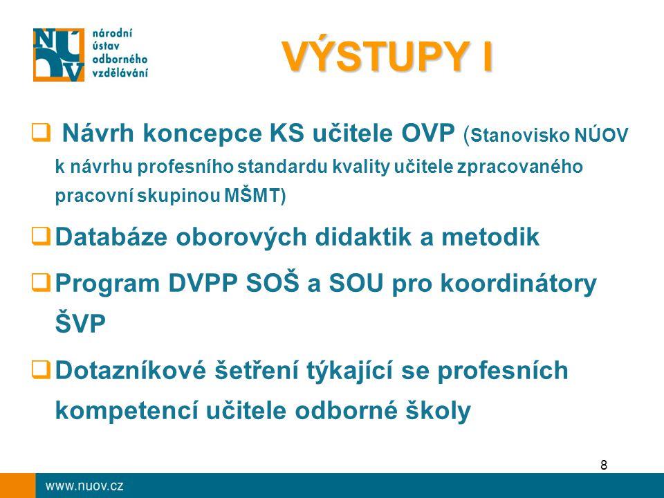 9  Evropské projekty Defining VET professions, Eurotrainer, Network to Support Trainers in Europe  Účast na evropských seminářích, workshopech a šetřeních  Publikace TTnet Parnerská síť vzdělavatelů v odborném vzdělávání  Sborníky z konferencí VÝSTUPY II