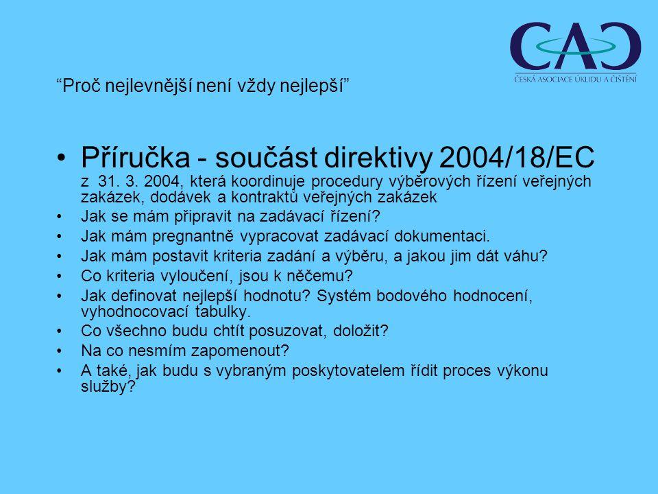 Příručka - součást direktivy 2004/18/EC z 31. 3.