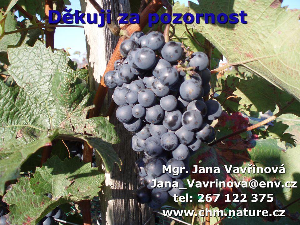 Děkuji za pozornost Mgr. Jana Vavřinová Jana_Vavrinova@env.cz tel: 267 122 375 www.chm.nature.cz