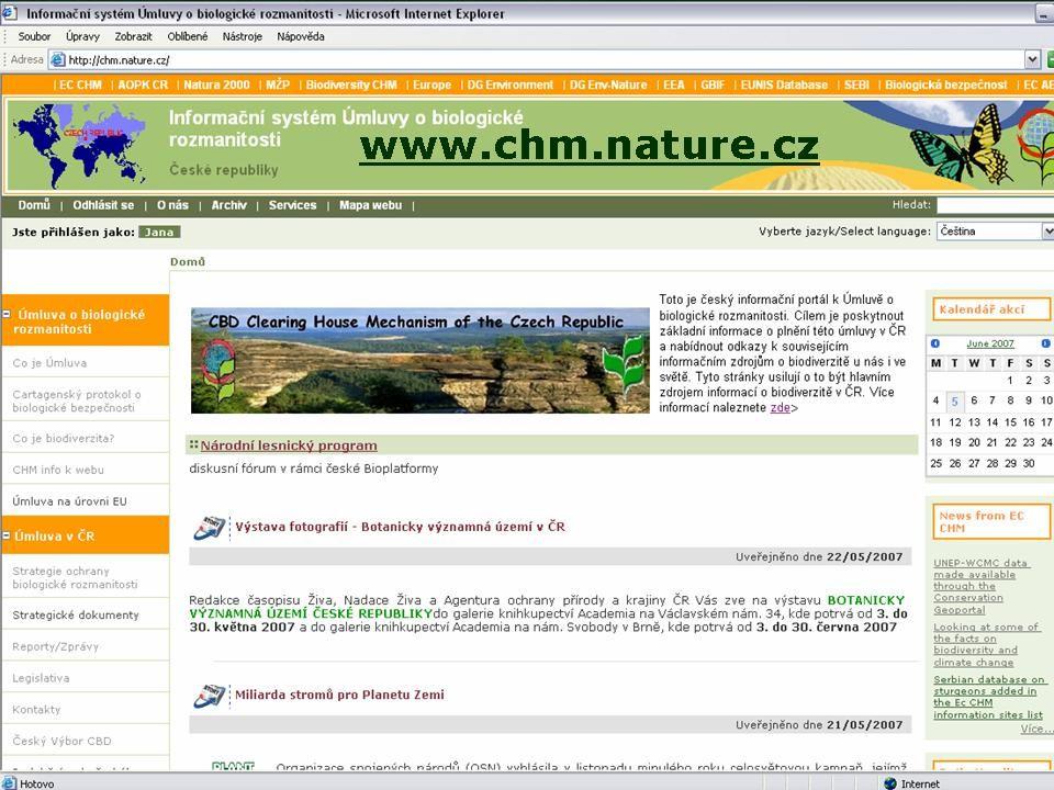 """ČINNOST SMLUVNÍCH STRAN Národních zprávy (I., II., III) Tématické zprávy invazní druhy, lesní ekosystémy, ABS, horské ekosystémy, chráněná území, přenos technologií a spolupráce Odpovědi na Notifikace sekretariátu (realizace rozhodnutí COP) CHM – Informační systém Úmluvy, (Clearing House Mechanism) Český CHM, """"redakční rada Strategie ochrany biologické rozmanitosti – článek 6 CBD"""