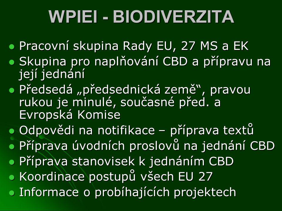 WPIEI - BIODIVERZITA Pracovní skupina Rady EU, 27 MS a EK Pracovní skupina Rady EU, 27 MS a EK Skupina pro naplňování CBD a přípravu na její jednání S