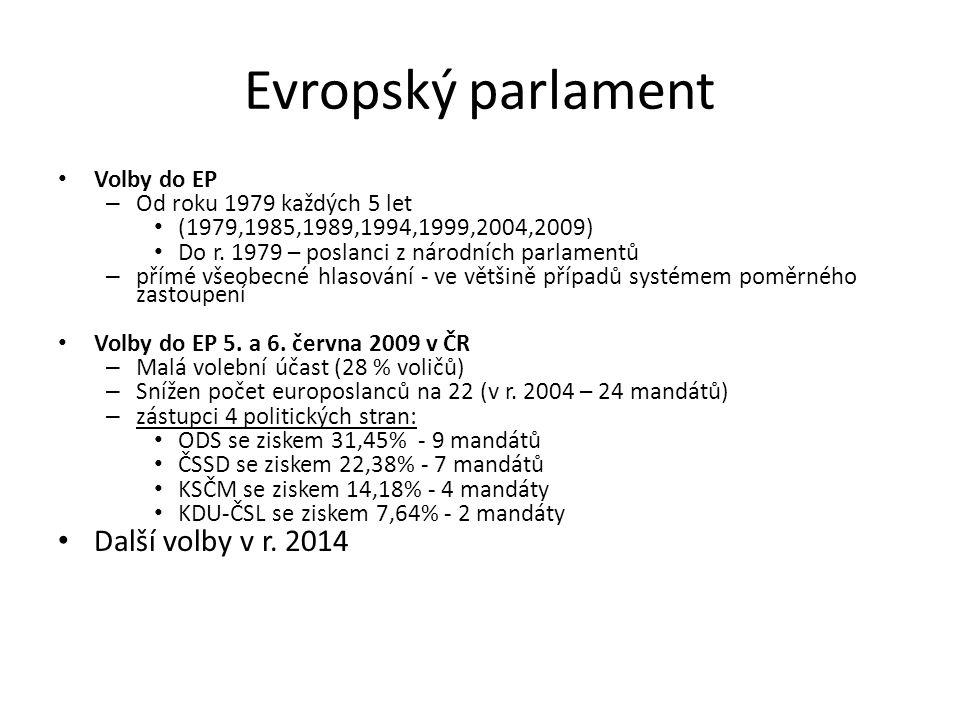Evropský parlament Volby do EP – Od roku 1979 každých 5 let (1979,1985,1989,1994,1999,2004,2009) Do r. 1979 – poslanci z národních parlamentů – přímé