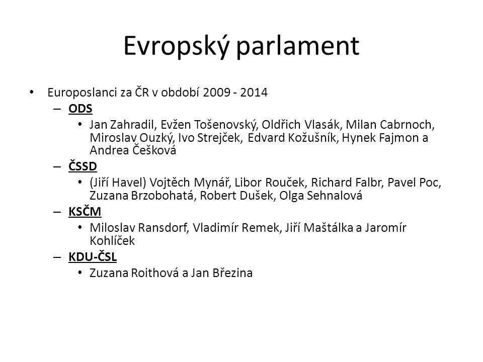 Evropský parlament Europoslanci za ČR v období 2009 - 2014 – ODS Jan Zahradil, Evžen Tošenovský, Oldřich Vlasák, Milan Cabrnoch, Miroslav Ouzký, Ivo S