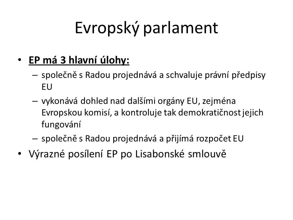 Evropský parlament EP má 3 hlavní úlohy: – společně s Radou projednává a schvaluje právní předpisy EU – vykonává dohled nad dalšími orgány EU, zejména