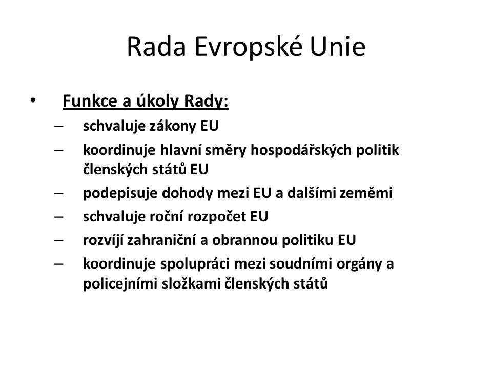 Rada Evropské Unie Funkce a úkoly Rady: – schvaluje zákony EU – koordinuje hlavní směry hospodářských politik členských států EU – podepisuje dohody m