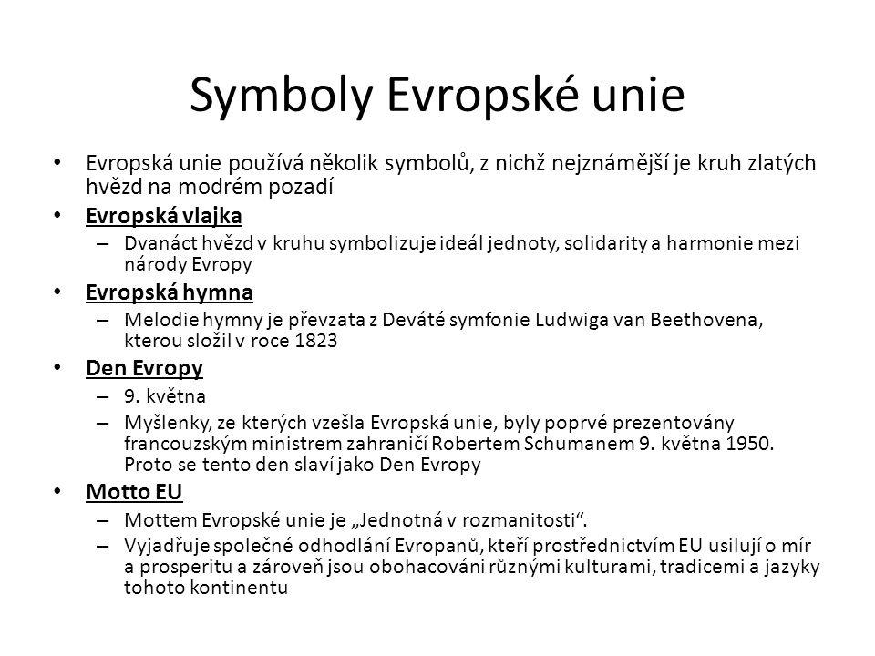 Symboly Evropské unie Evropská unie používá několik symbolů, z nichž nejznámější je kruh zlatých hvězd na modrém pozadí Evropská vlajka – Dvanáct hvěz