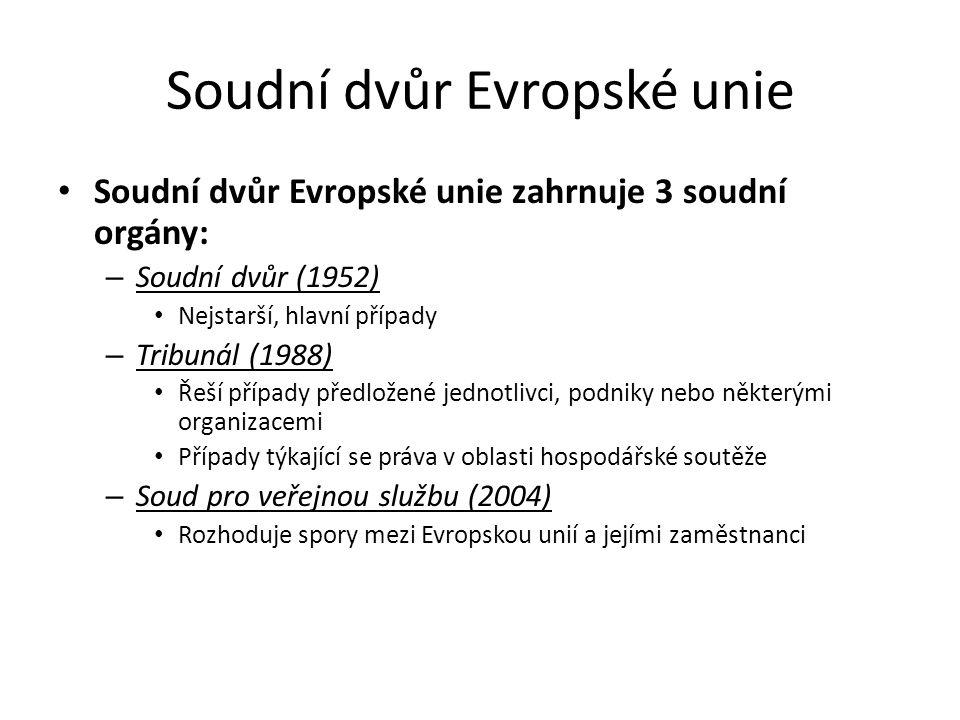 Soudní dvůr Evropské unie Soudní dvůr Evropské unie zahrnuje 3 soudní orgány: – Soudní dvůr (1952) Nejstarší, hlavní případy – Tribunál (1988) Řeší př