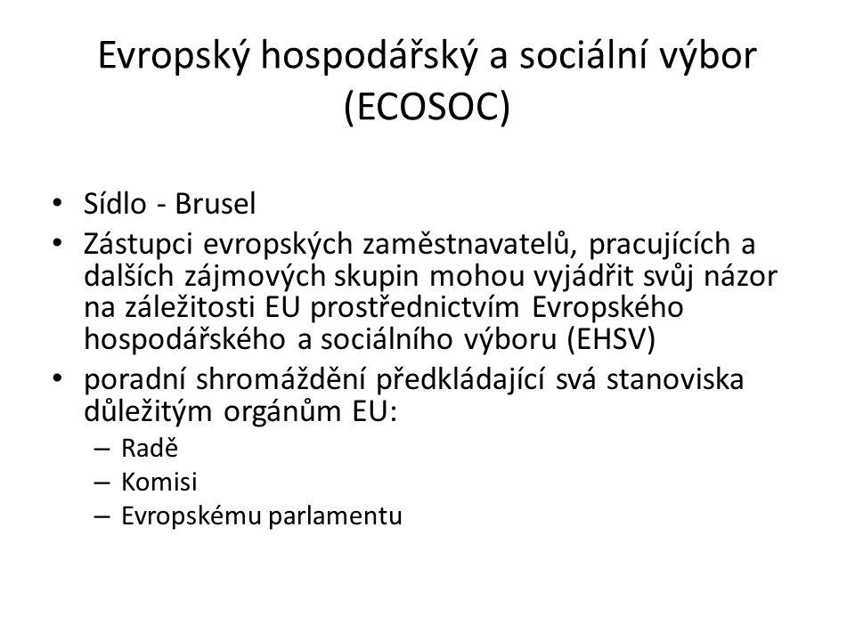 Evropský hospodářský a sociální výbor (ECOSOC) Sídlo - Brusel Zástupci evropských zaměstnavatelů, pracujících a dalších zájmových skupin mohou vyjádři