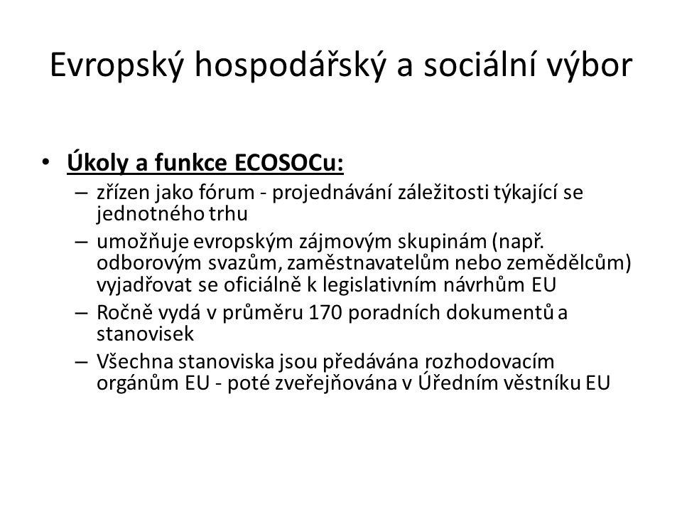 Evropský hospodářský a sociální výbor Úkoly a funkce ECOSOCu: – zřízen jako fórum - projednávání záležitosti týkající se jednotného trhu – umožňuje ev