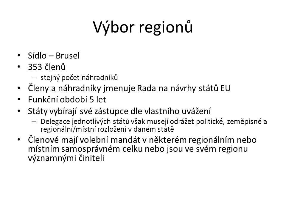 Výbor regionů Sídlo – Brusel 353 členů – stejný počet náhradníků Členy a náhradníky jmenuje Rada na návrhy států EU Funkční období 5 let Státy vybíraj