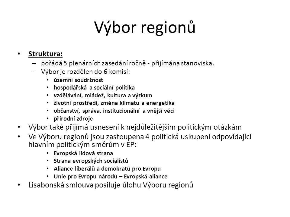 Výbor regionů Struktura: – pořádá 5 plenárních zasedání ročně - přijímána stanoviska. – Výbor je rozdělen do 6 komisí: územní soudržnost hospodářská a