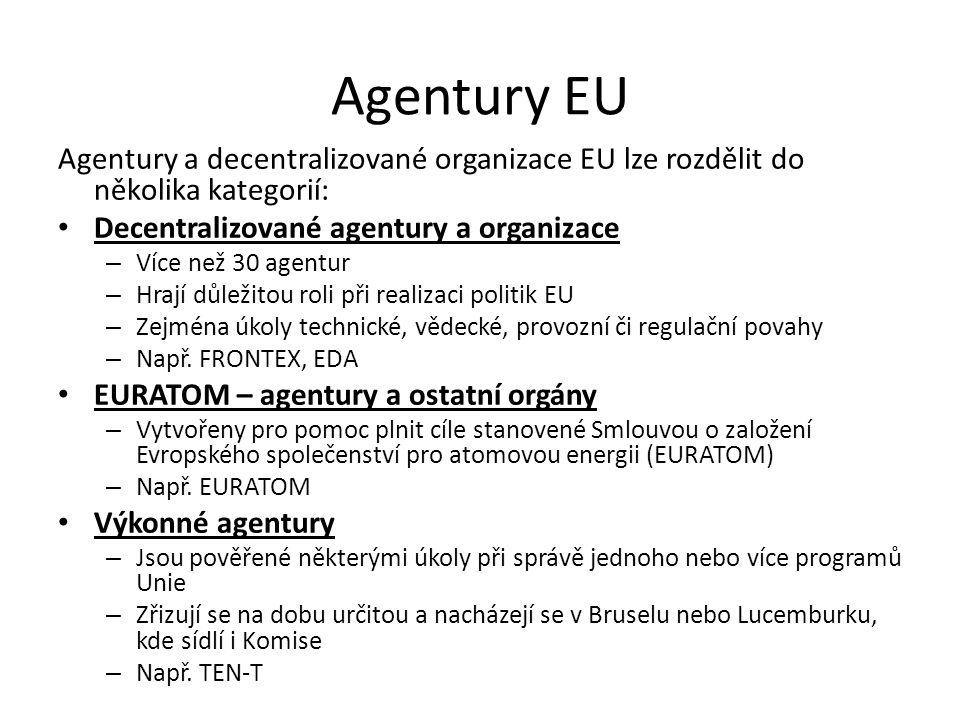 Agentury EU Agentury a decentralizované organizace EU lze rozdělit do několika kategorií: Decentralizované agentury a organizace – Více než 30 agentur