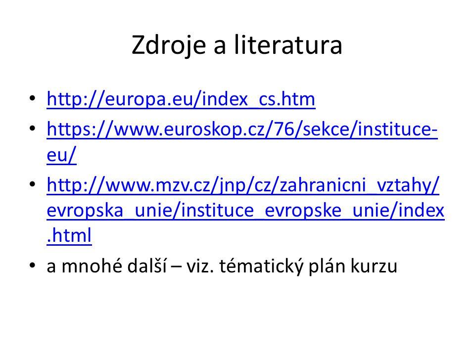 Zdroje a literatura http://europa.eu/index_cs.htm https://www.euroskop.cz/76/sekce/instituce- eu/ https://www.euroskop.cz/76/sekce/instituce- eu/ http