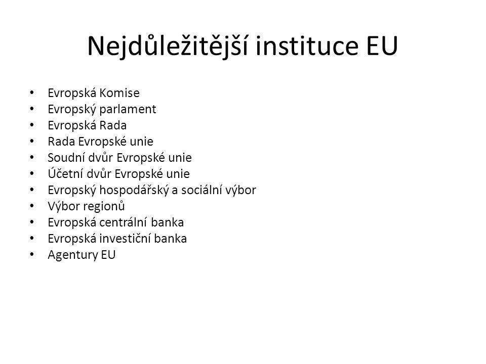 Nejdůležitější instituce EU Evropská Komise Evropský parlament Evropská Rada Rada Evropské unie Soudní dvůr Evropské unie Účetní dvůr Evropské unie Ev