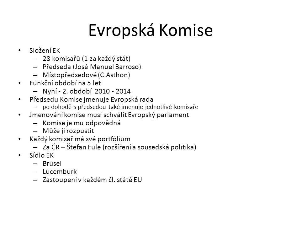 Evropská Komise Složení EK – 28 komisařů (1 za každý stát) – Předseda (José Manuel Barroso) – Místopředsedové (C.Asthon) Funkční období na 5 let – Nyn