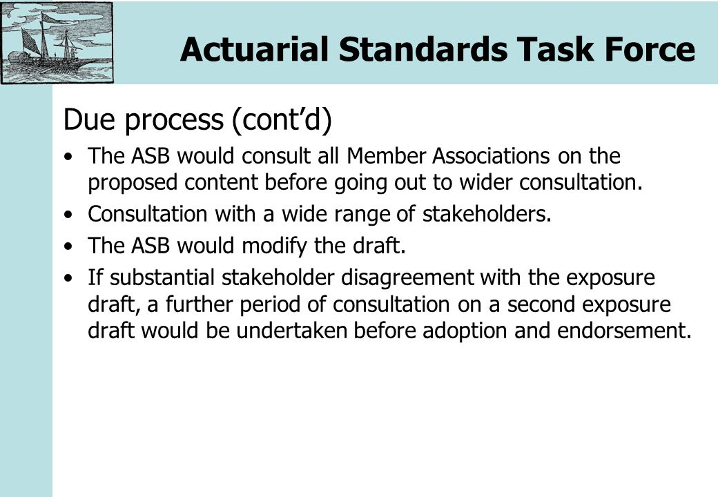 Actuarial Standards Task Force Due process (cont'd) The ASB would consult all Member Associations on the proposed content before going out to wider consultation.