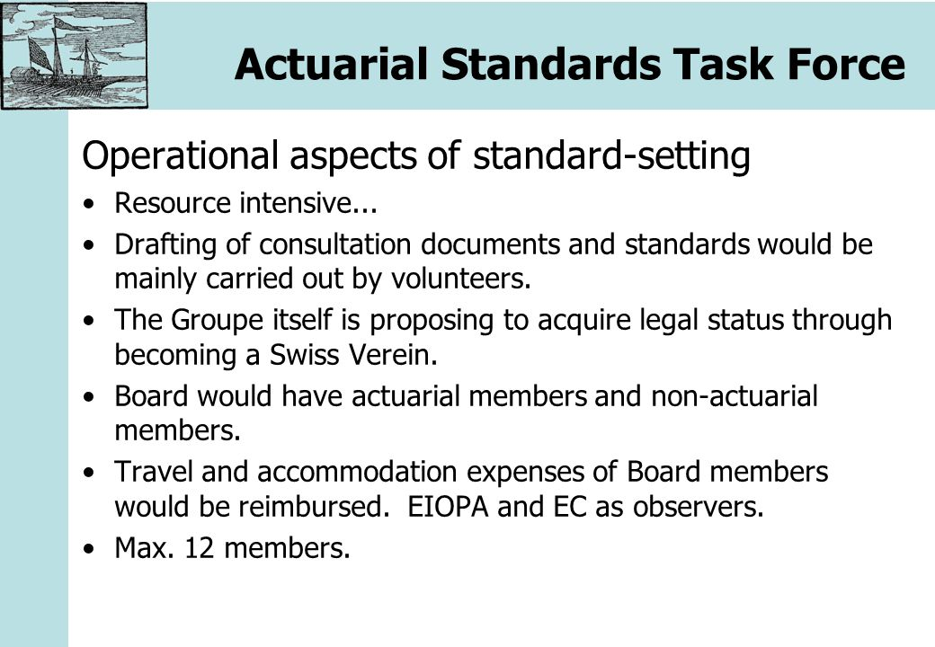 Actuarial Standards Task Force Operational aspects of standard-setting Resource intensive...