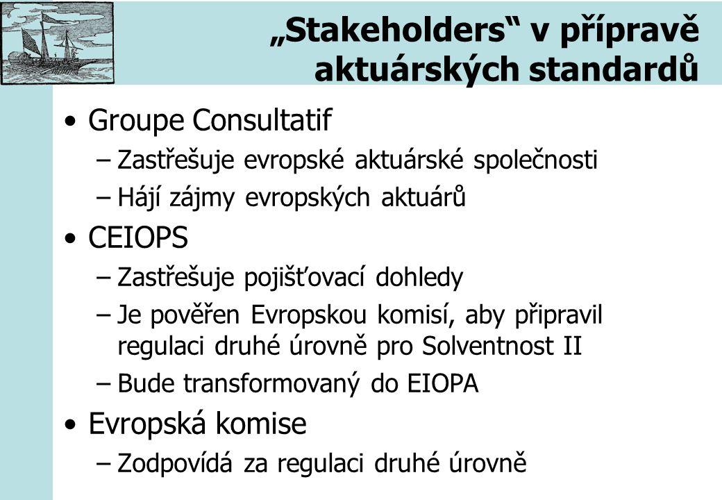 """""""Stakeholders"""" v přípravě aktuárských standardů Groupe Consultatif –Zastřešuje evropské aktuárské společnosti –Hájí zájmy evropských aktuárů CEIOPS –Z"""