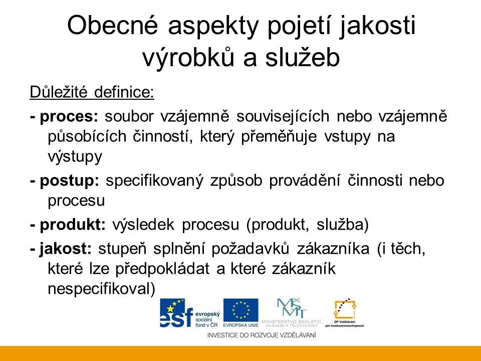Obecné aspekty pojetí jakosti výrobků a služeb Důležité definice: - proces: soubor vzájemně souvisejících nebo vzájemně působících činností, který pře