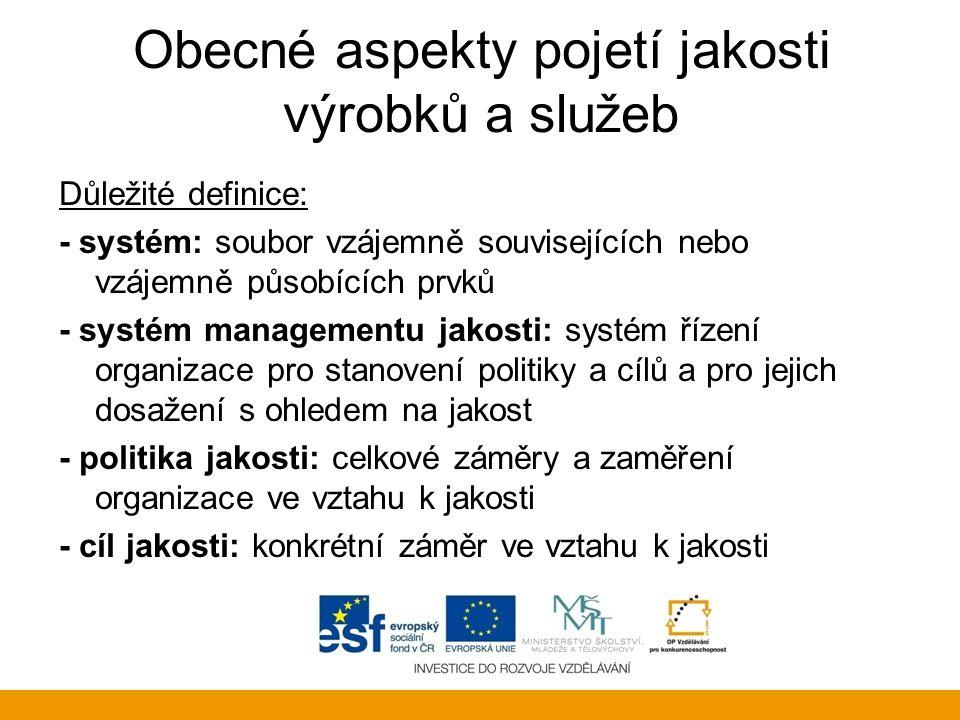 Obecné aspekty pojetí jakosti výrobků a služeb Důležité definice: - systém: soubor vzájemně souvisejících nebo vzájemně působících prvků - systém mana