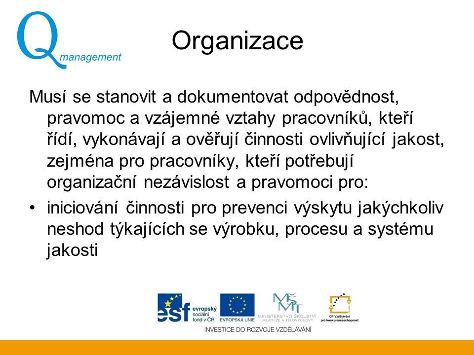 Organizace Musí se stanovit a dokumentovat odpovědnost, pravomoc a vzájemné vztahy pracovníků, kteří řídí, vykonávají a ověřují činnosti ovlivňující j