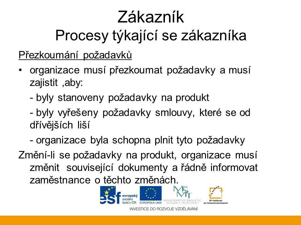 Zákazník Procesy týkající se zákazníka Přezkoumání požadavků organizace musí přezkoumat požadavky a musí zajistit,aby: - byly stanoveny požadavky na p