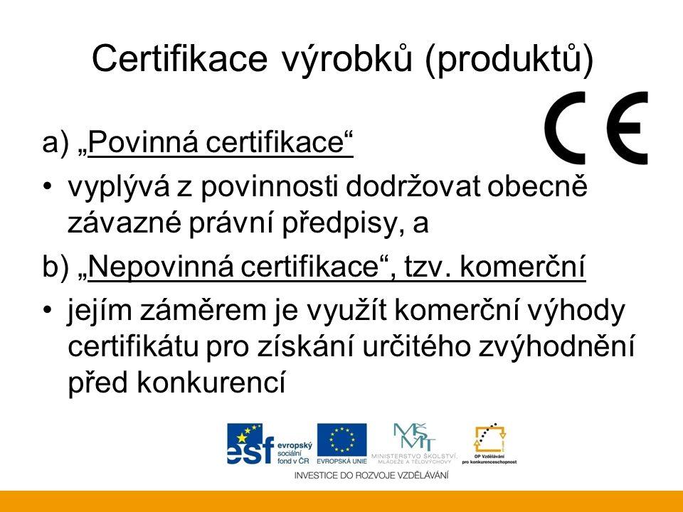 """Certifikace výrobků (produktů) a) """"Povinná certifikace"""" vyplývá z povinnosti dodržovat obecně závazné právní předpisy, a b) """"Nepovinná certifikace"""", t"""