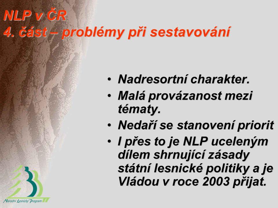 NLP v ČR 4. část – problémy při sestavování Nadresortní charakter.Nadresortní charakter. Malá provázanost mezi tématy.Malá provázanost mezi tématy. Ne