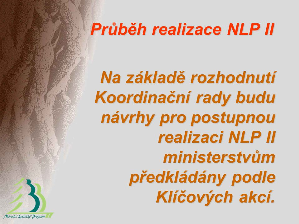 Průběh realizace NLP II Na základě rozhodnutí Koordinační rady budu návrhy pro postupnou realizaci NLP II ministerstvům předkládány podle Klíčových ak