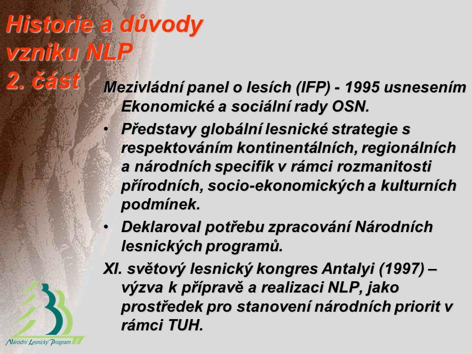 Historie a důvody vzniku NLP 2. část Mezivládní panel o lesích (IFP) - 1995 usnesením Ekonomické a sociální rady OSN. Představy globální lesnické stra