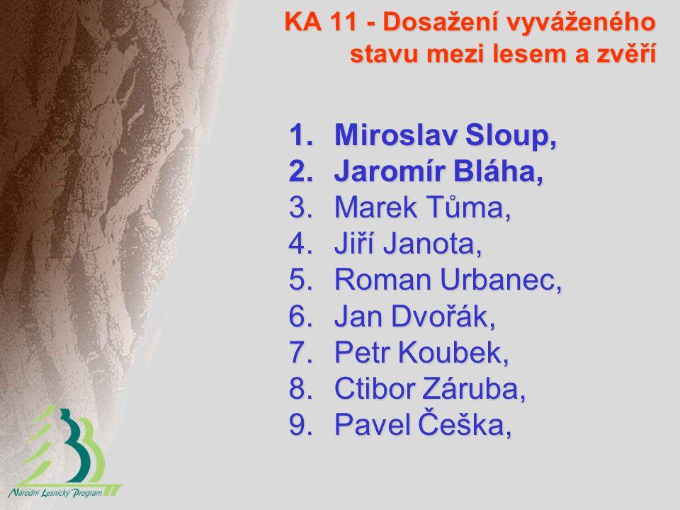 KA 11 - Dosažení vyváženého stavu mezi lesem a zvěří 1.Miroslav Sloup, 2.Jaromír Bláha, 3.Marek Tůma, 4.Jiří Janota, 5.Roman Urbanec, 6.Jan Dvořák, 7.