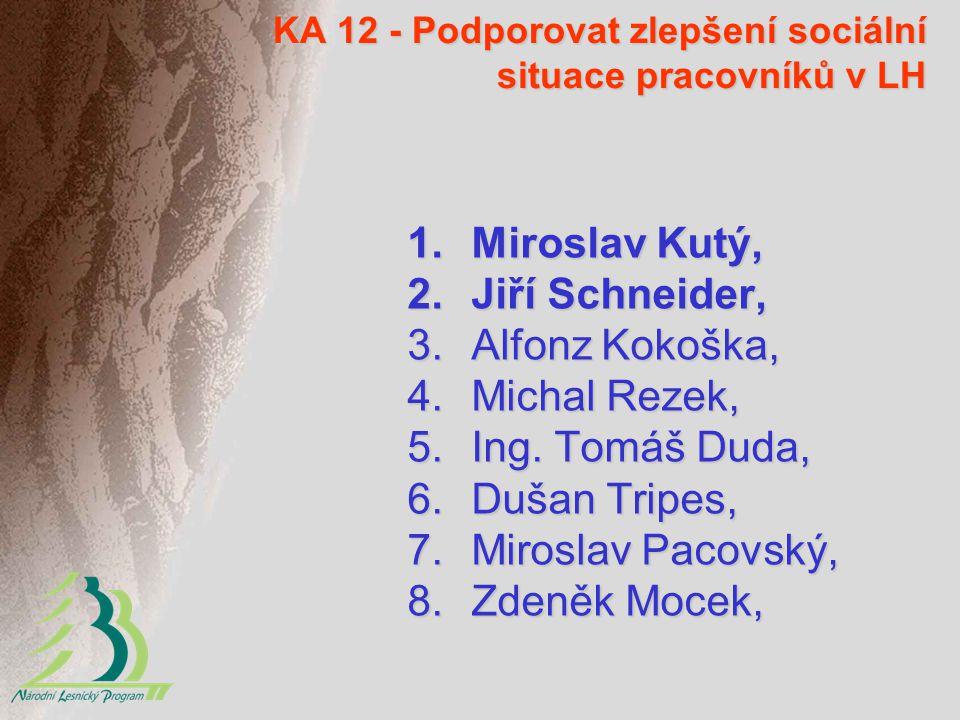 KA 12 - Podporovat zlepšení sociální situace pracovníků v LH 1.Miroslav Kutý, 2.Jiří Schneider, 3.Alfonz Kokoška, 4.Michal Rezek, 5.Ing.
